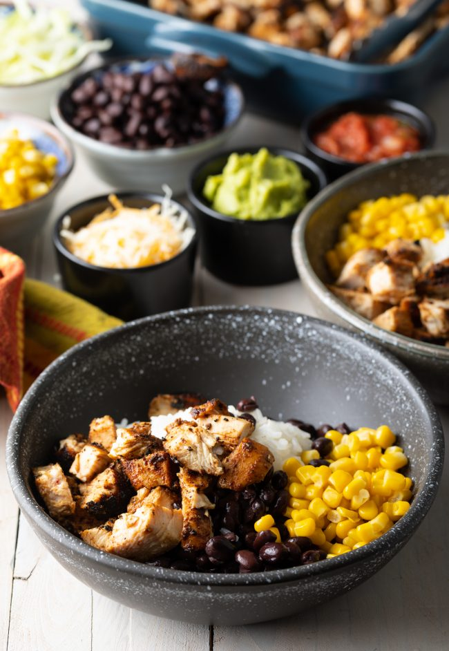 how to assemble a burrito bowl