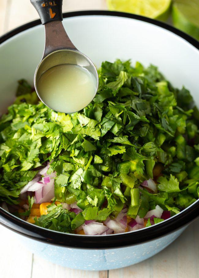 cilantro with lime juice