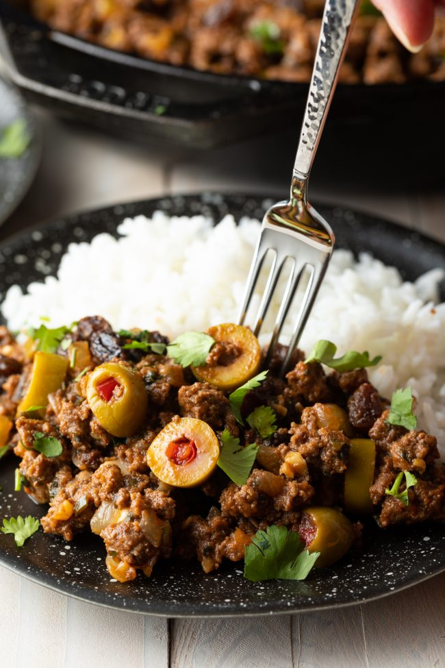 ground beef with olives, raisins, and cilantro