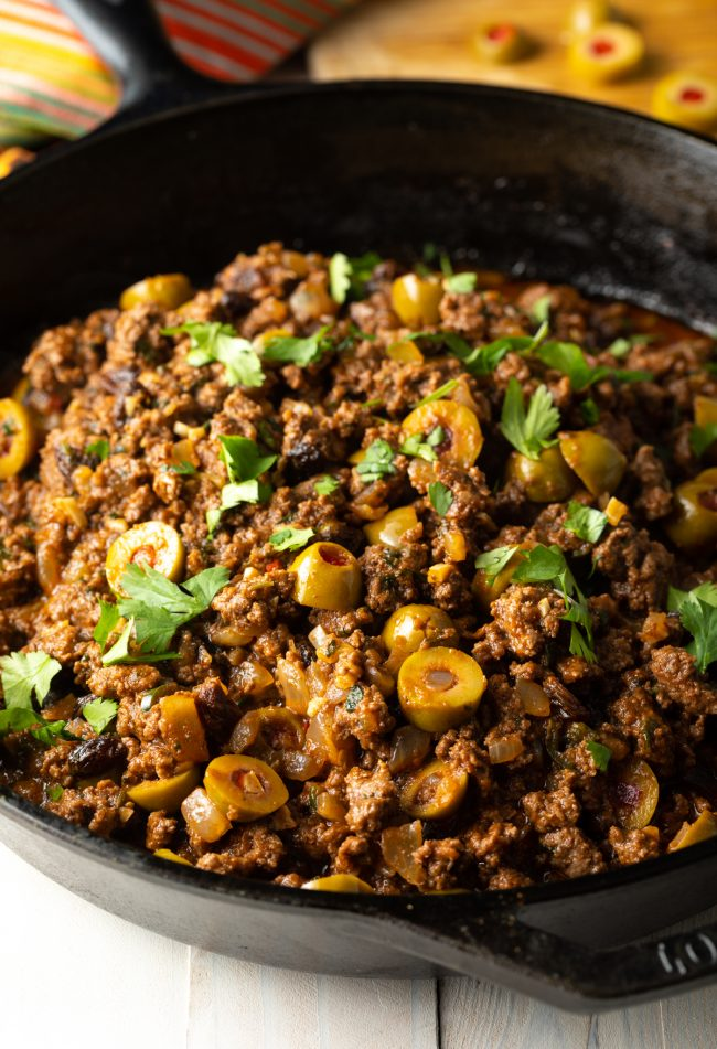 simmered cuban beef picadillo