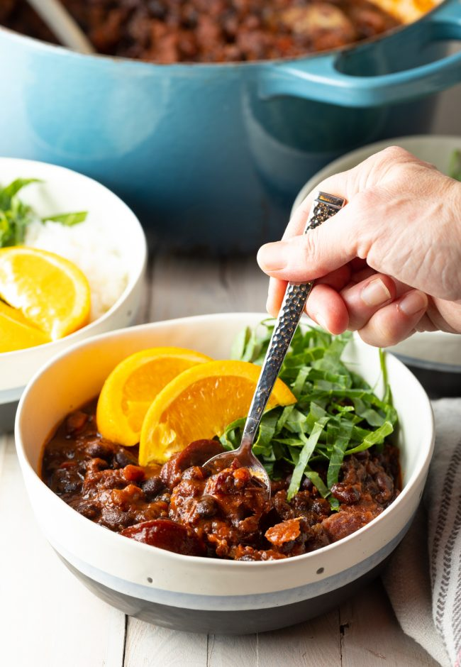 homemade rustic black bean and pork stew recipe