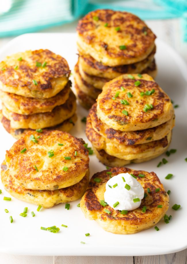 potato pancakes with sour cream and chives