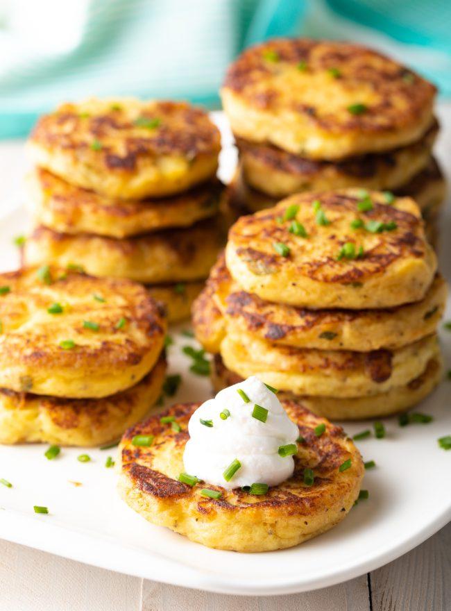 fried potato cake recipe with chopped scallions