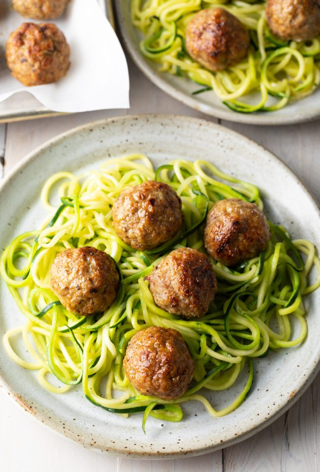 low carb meatballs with zoodles