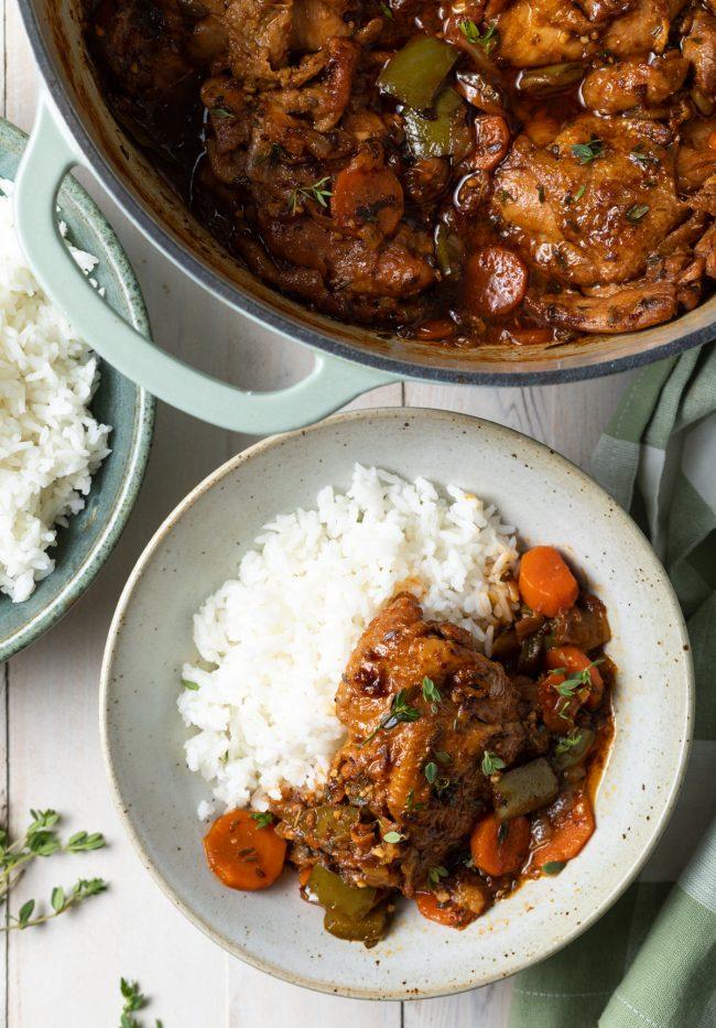 white rice with chicken stew