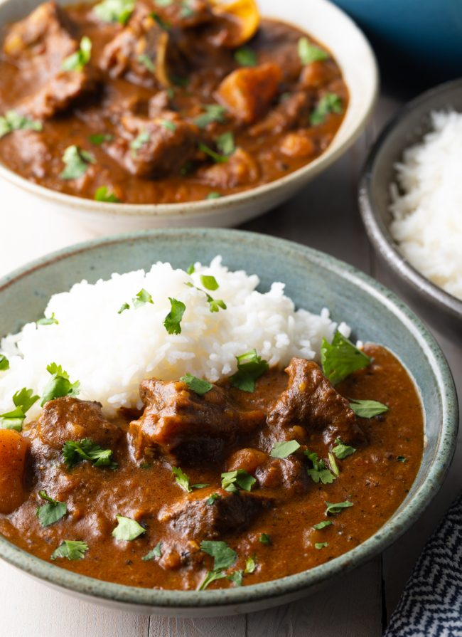 Jamaican goat curry with rice
