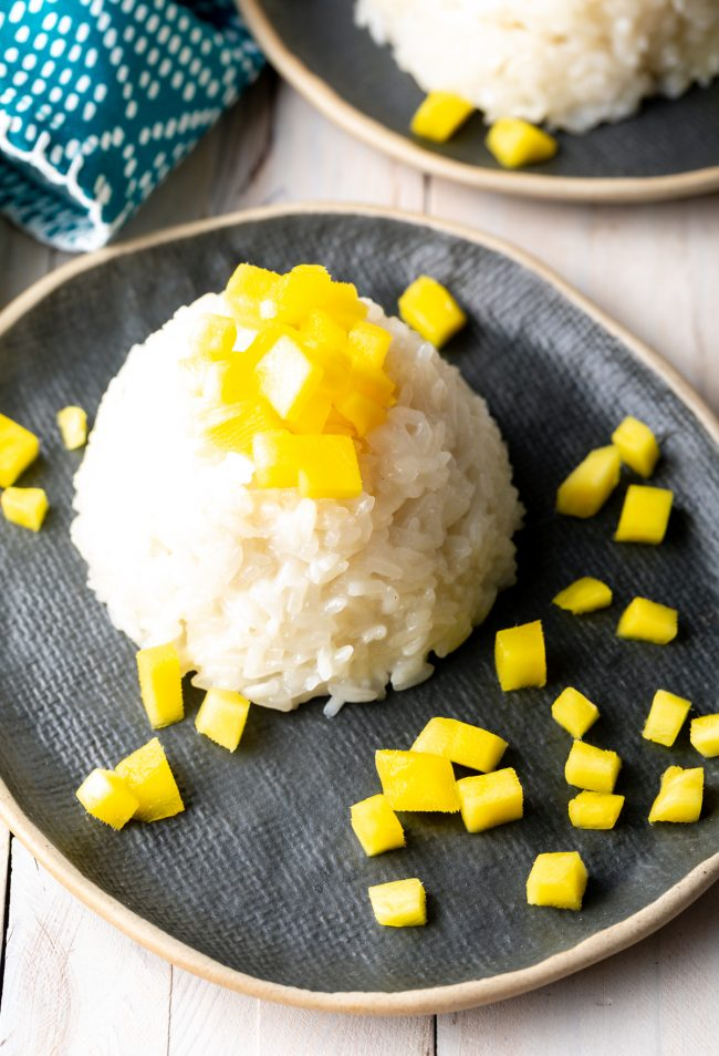 thai mango sticky coconut rice pudding