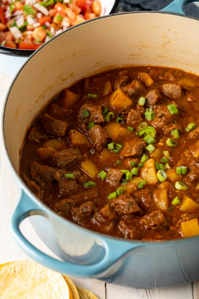 pot of Latin beef stew con papas