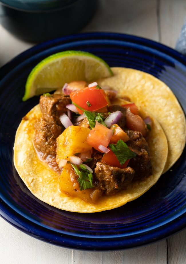 beef stew tacos with potatoes