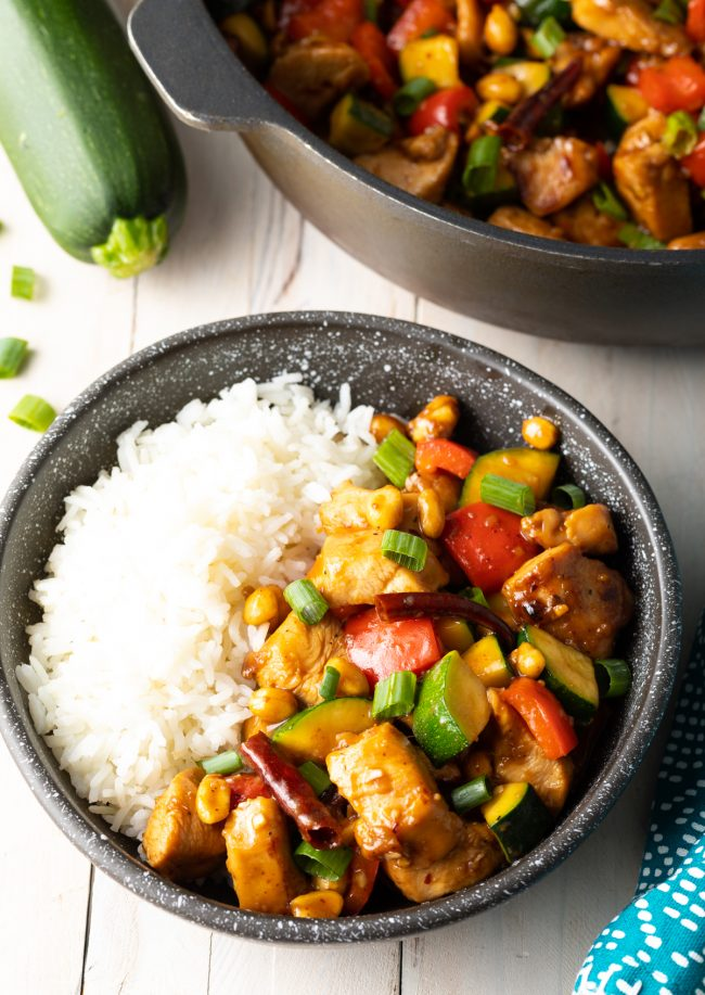 authentic kung pao chicken with steamed white rice