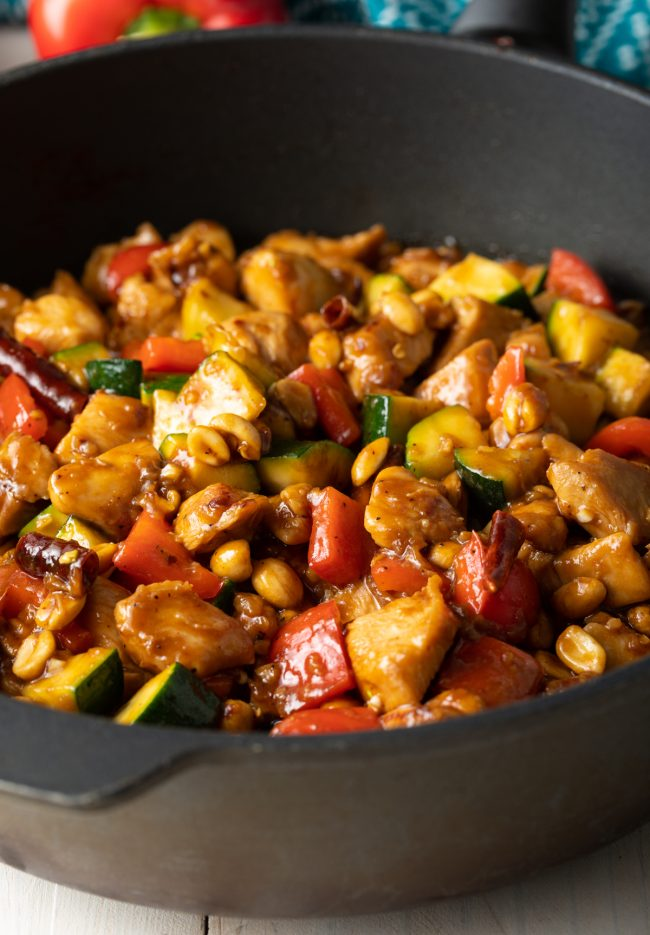 copycat panda express kung pao chicken with veggies and peanuts