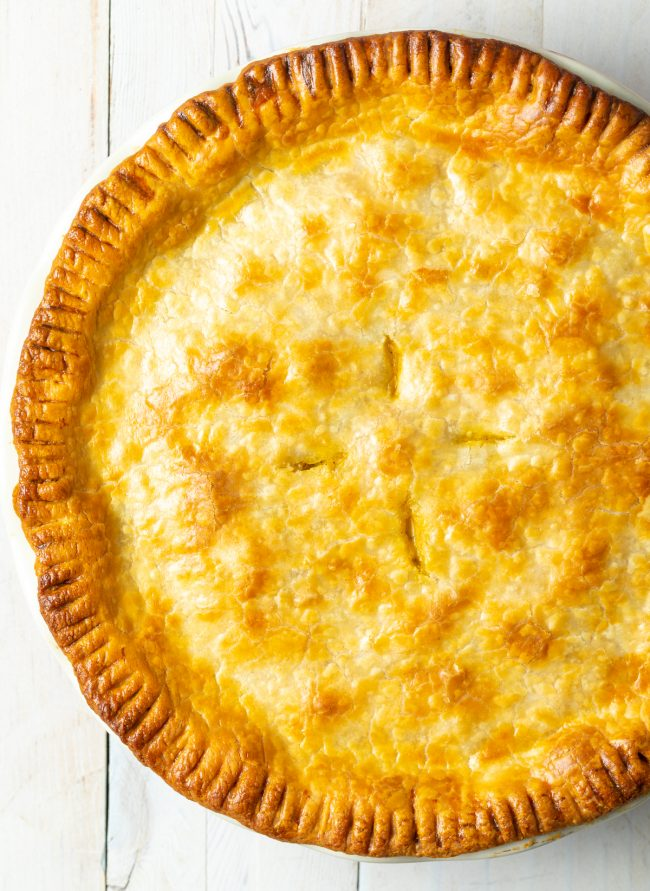 whole pot pie with golden crust