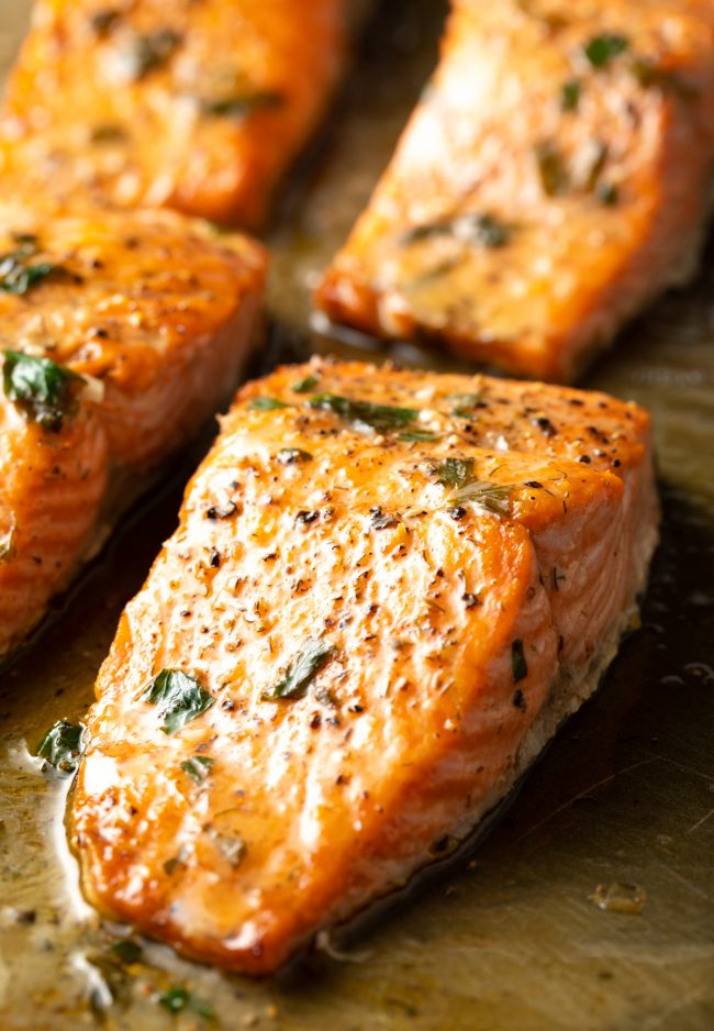 broiled salmon with garlic herb butter