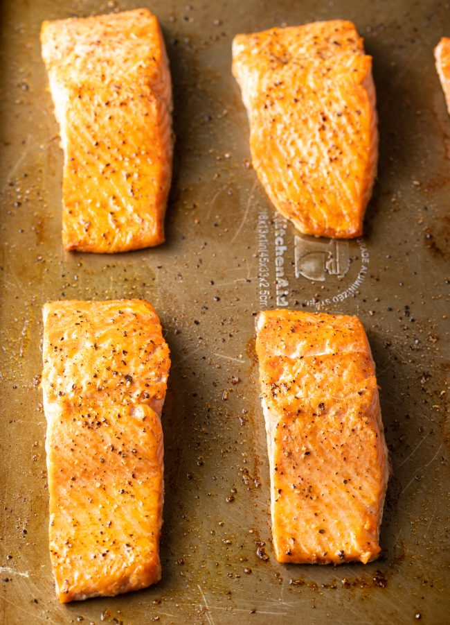 baked fish on a baking sheet
