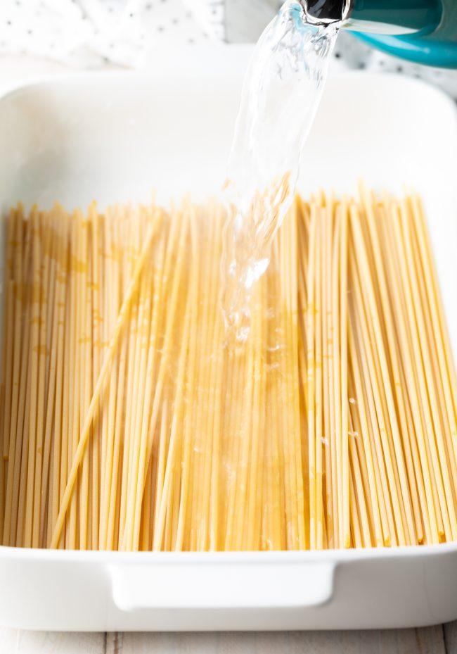 soaking the noodles for pastitsio