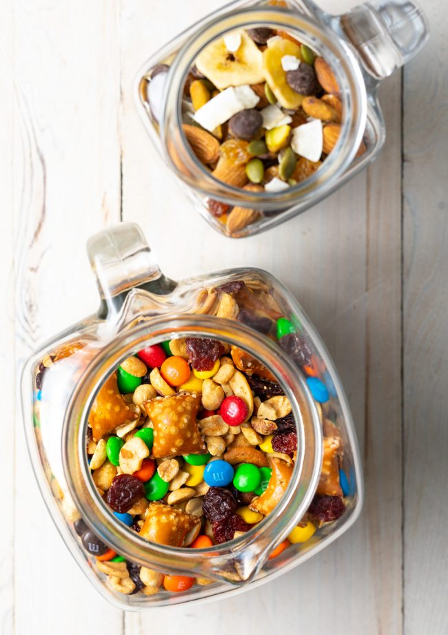 overhead view of homemade snack mix