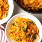 pappardelle pasta with seafood sauce
