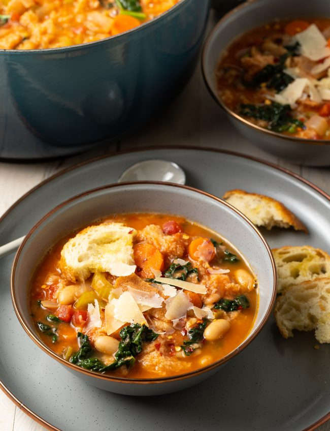 Tuscan white bean soup with parmesan cheese