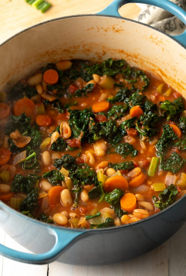 vegetarian soup in a large pot