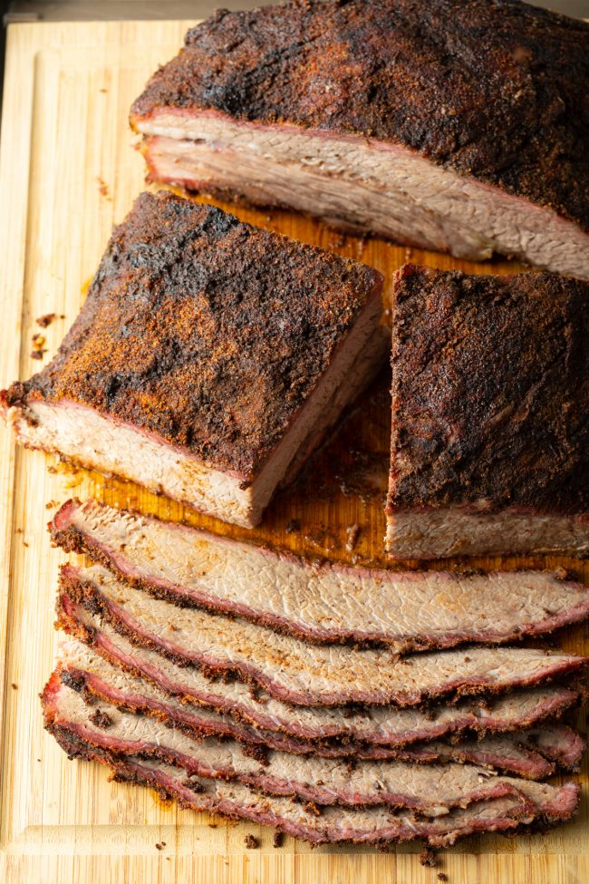 sliced after the right smoked brisket temp is achieved and it has rested