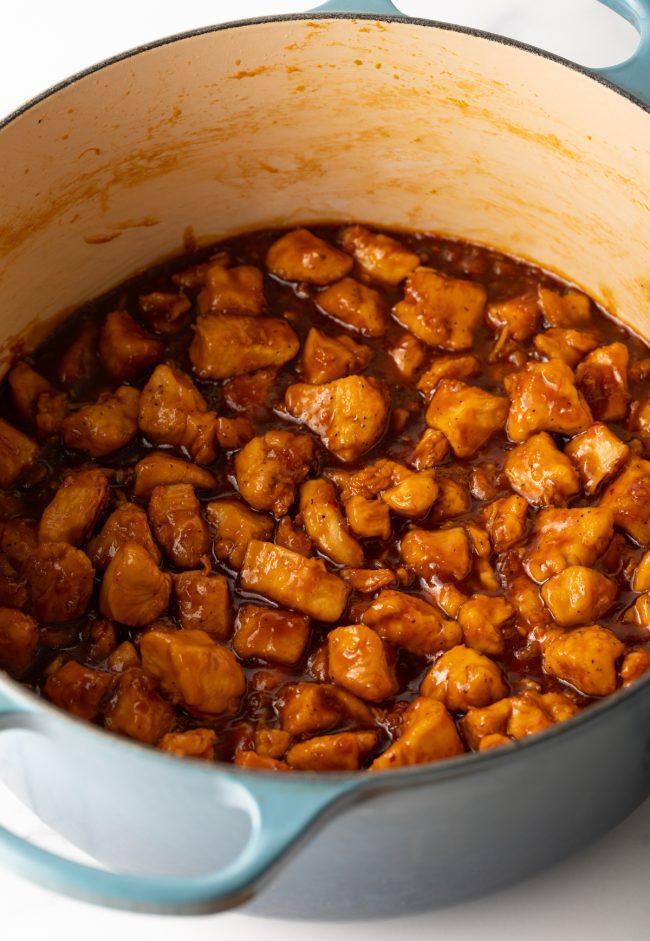 add the sauce and stir
