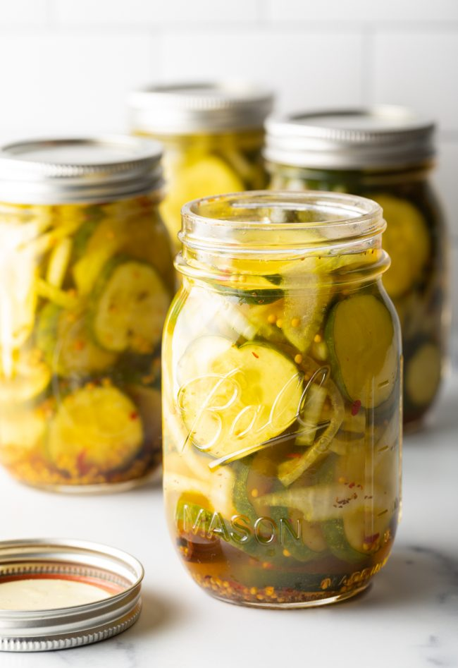 opened jar of bread and butter pickles