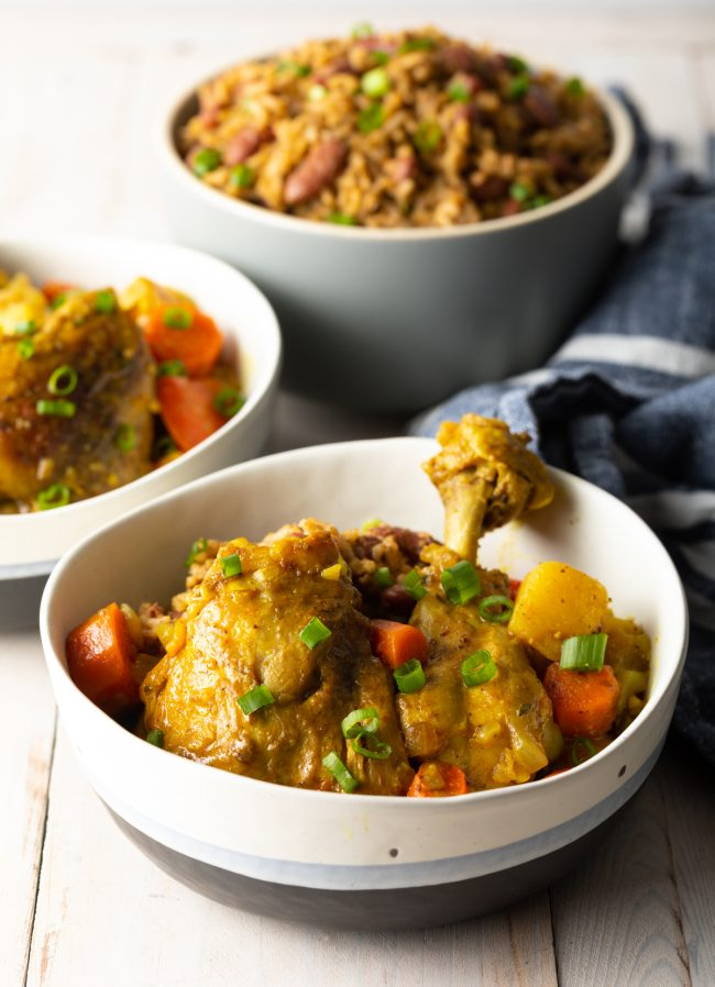 Jamaican Curry Chicken recipe finished and ready to enjoy