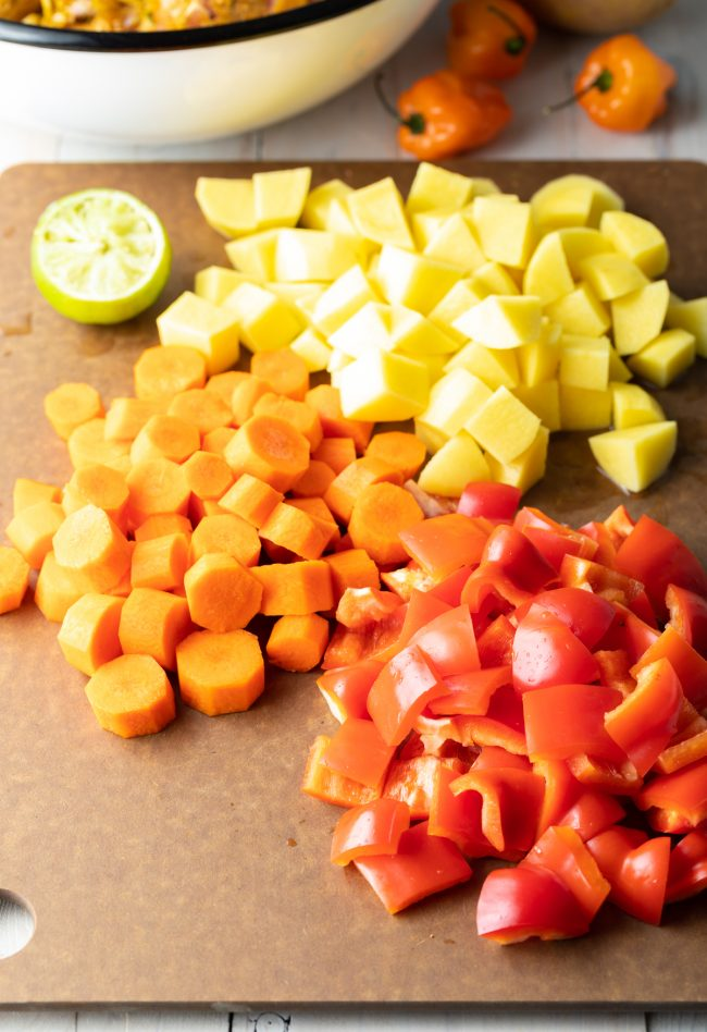 chopped potatoes, peppers, carrots