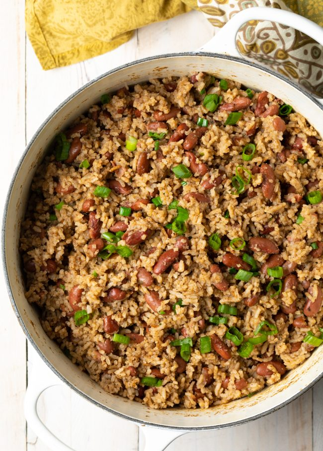pot of rice with beans