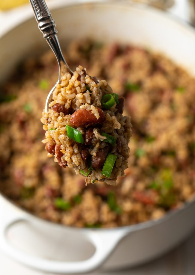 spoonful of Caribbean rice and peas