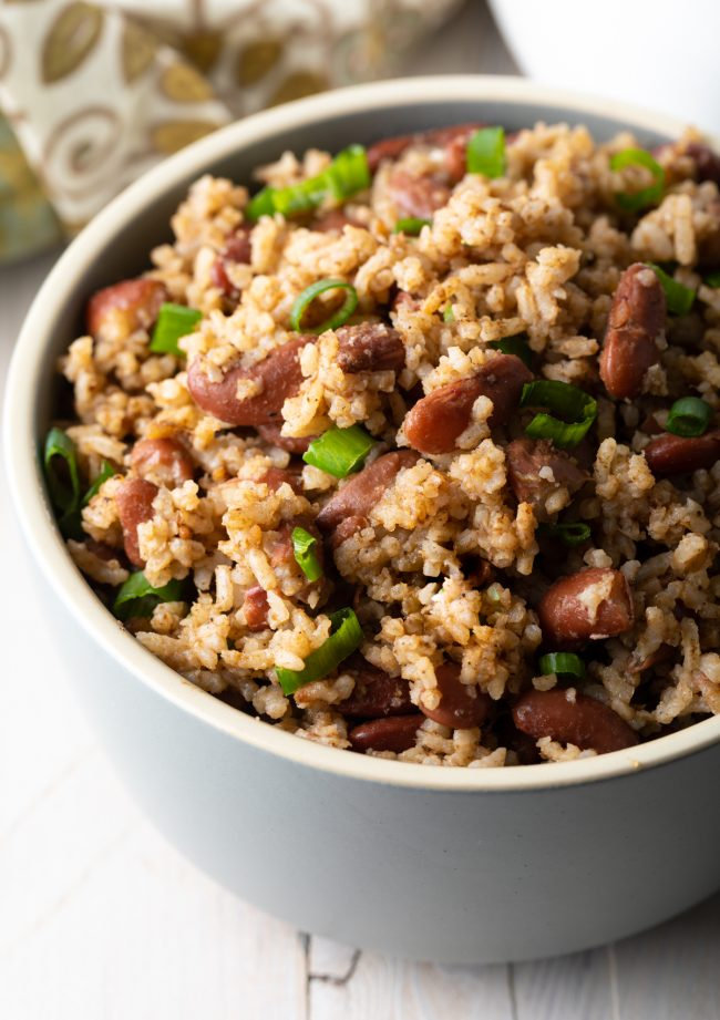 Jamaican peas and rice with scallions