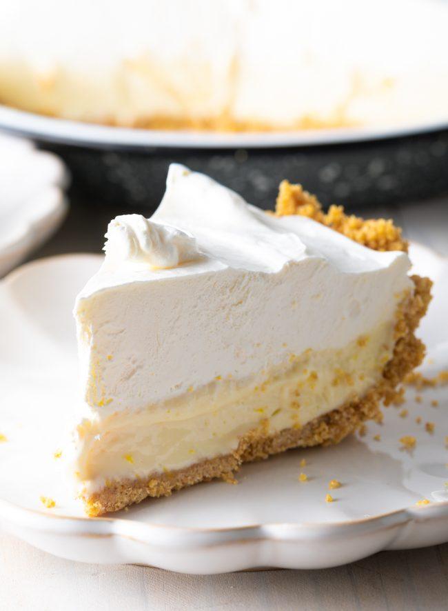 slice of lemon icebox pie on a plate