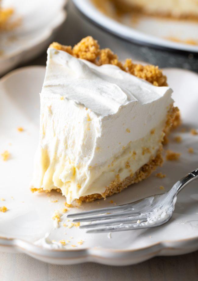 close up of pie slice with bite taken