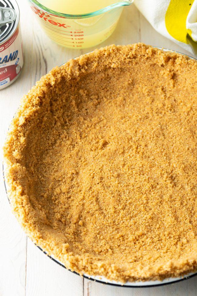 no bake graham cracker crust pressed into a pie plate