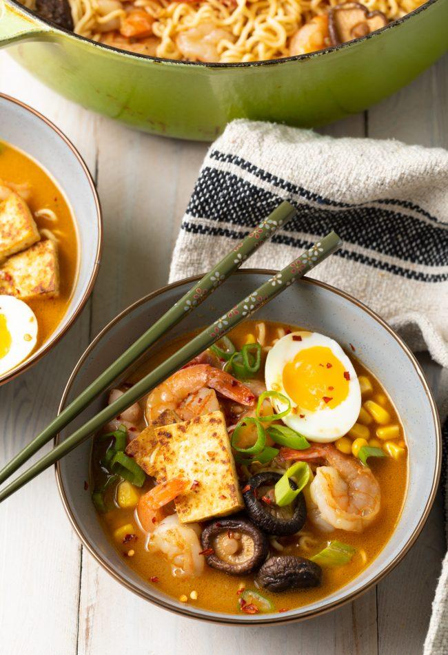 soft eggs, seared tofu, shrimp ramen soup recipe