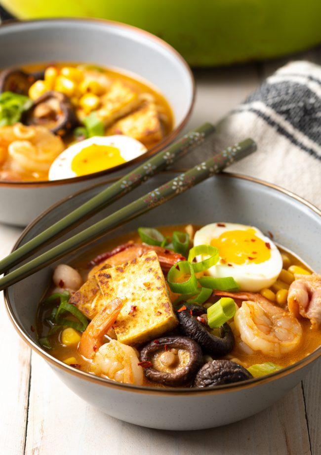 spicy shrimp ramen noodles with soft boiled eggs