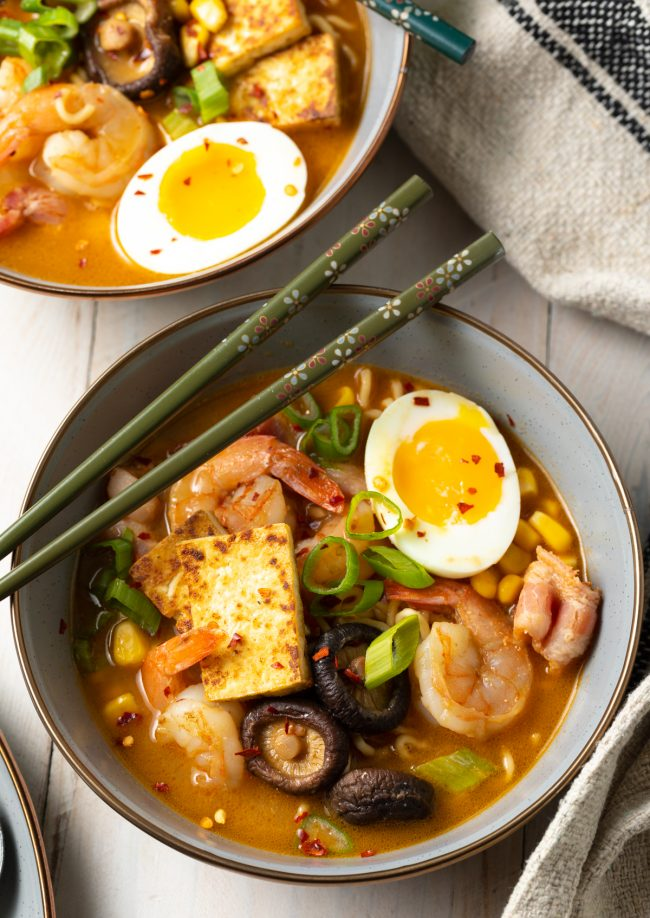 ramen with shrimp, soft boiled eggs, extra toppings