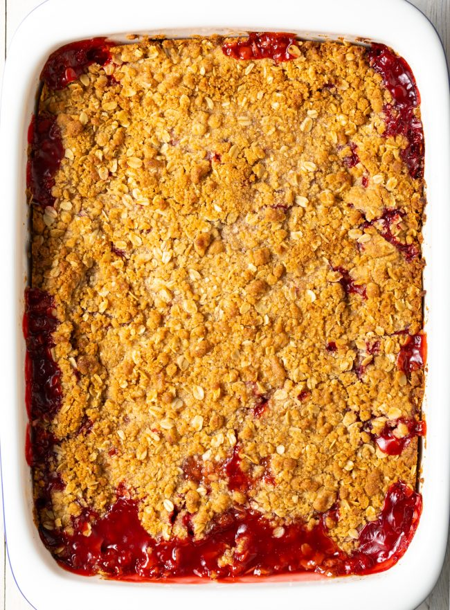 baked strawberry rhubarb crisp with oat crumble topping