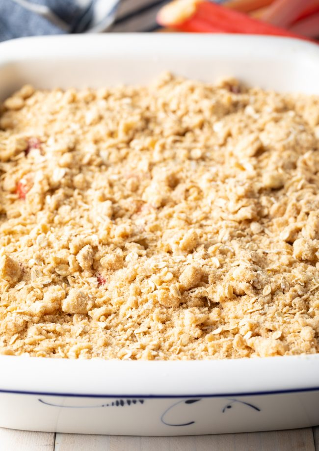 oat topping over the fruit mixture