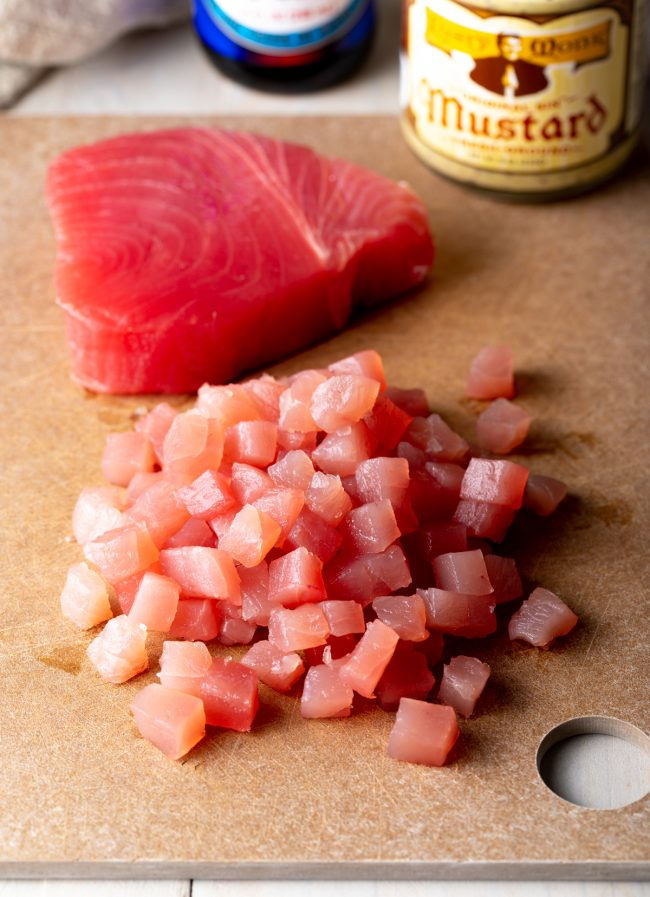 sushi-grade yellowfin chopped into cubes