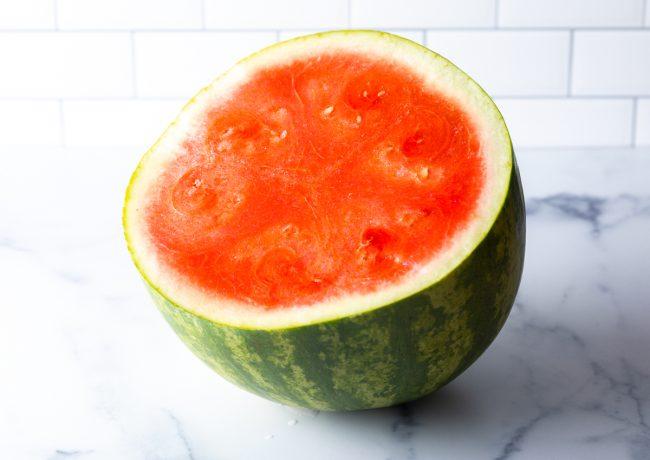 ripe watermelon cut in half