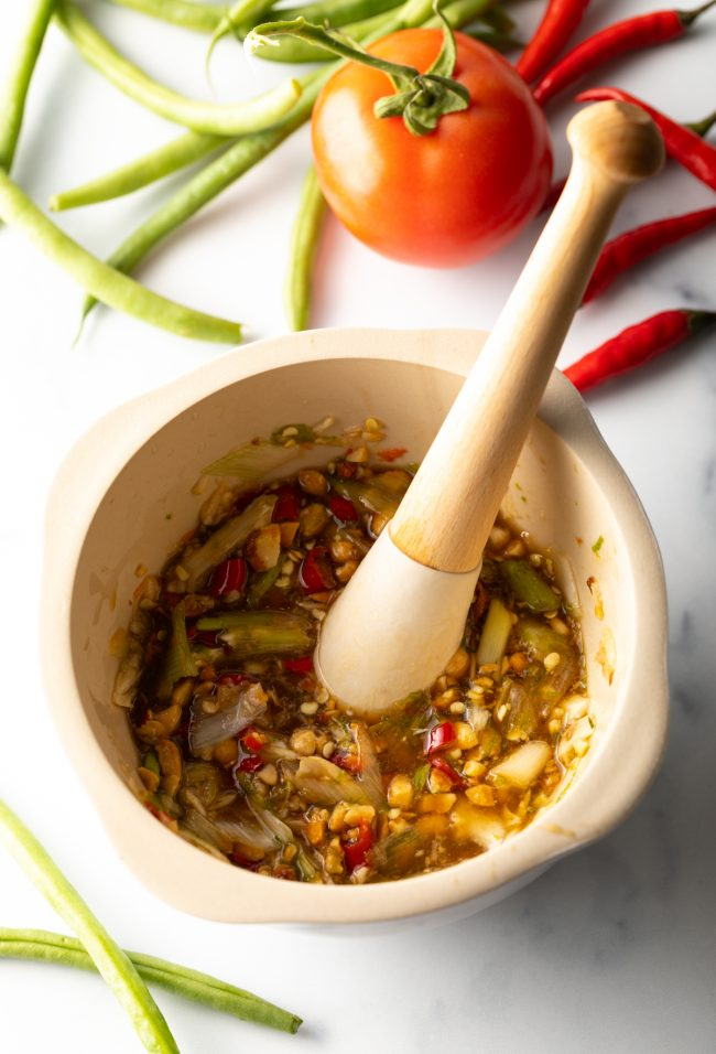 mortar and pestle with seasonings