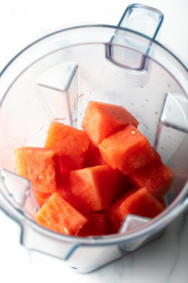 blender with cubes of watermelon