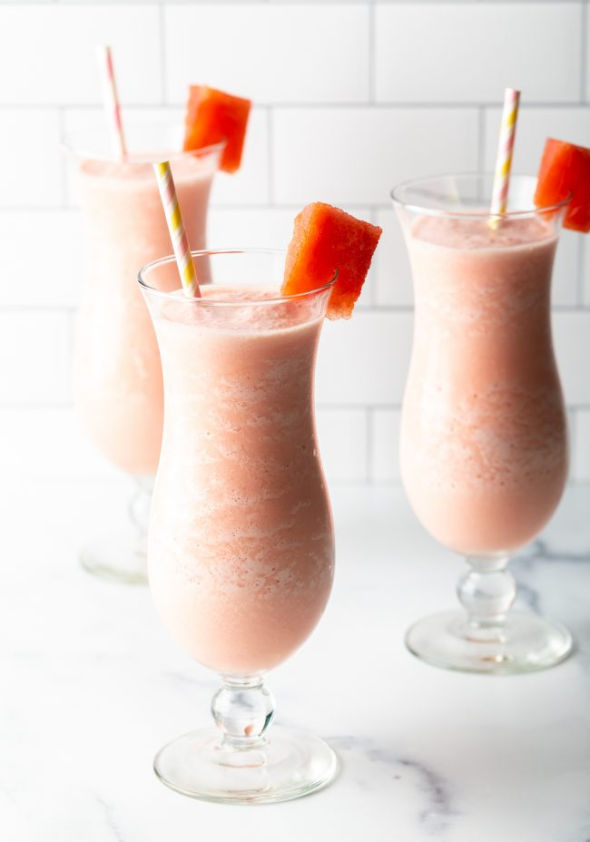 trio of garnished smoothies with watermelon