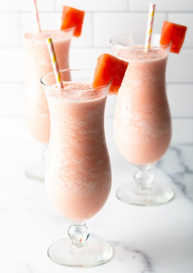 healthy watermelon smoothies with straws