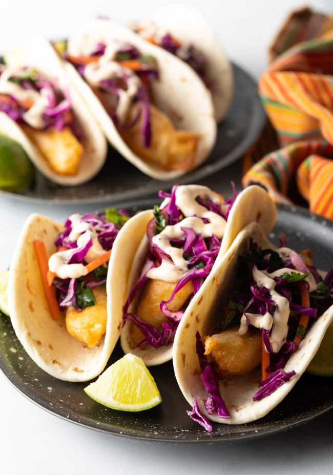 fried code with fish slaw and taco sauce