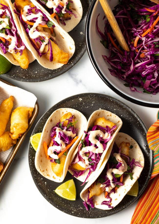 overhead view of 3 fish tacos