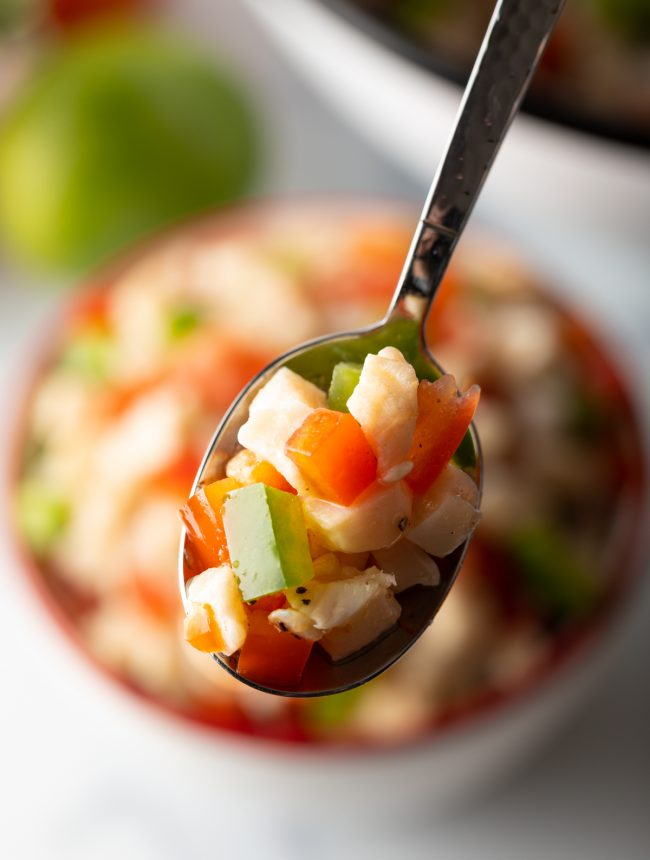 spoonful conch salad with raw seafood, peppers, tomatoes, and seasoning traditional Bahamian food