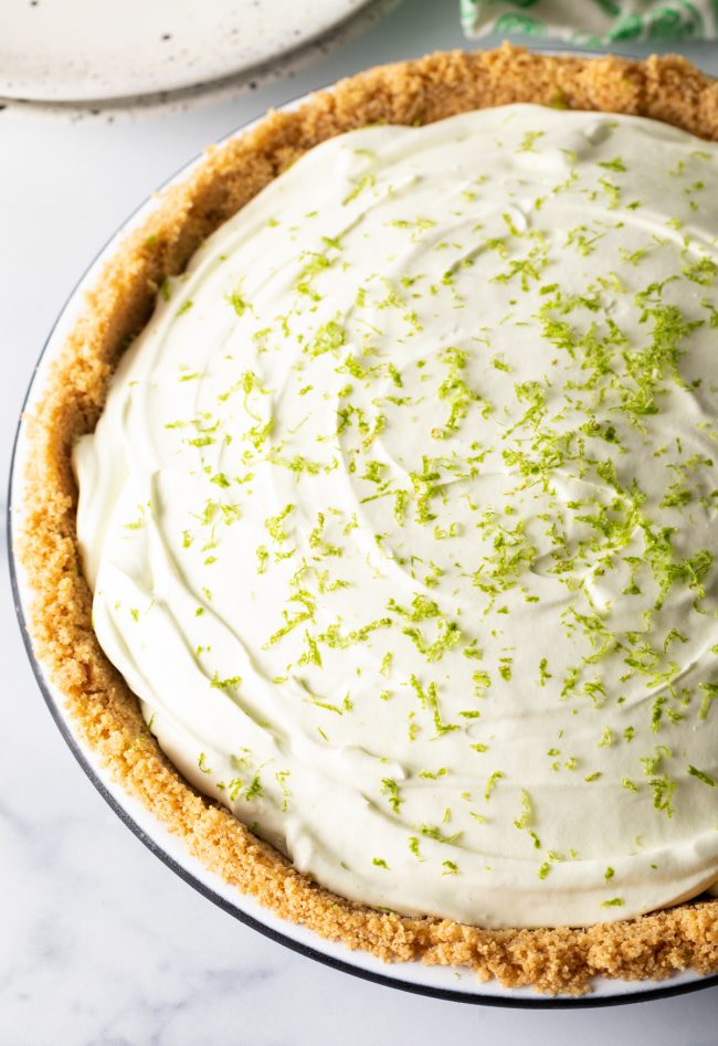full pie with graham cracker crust and zest