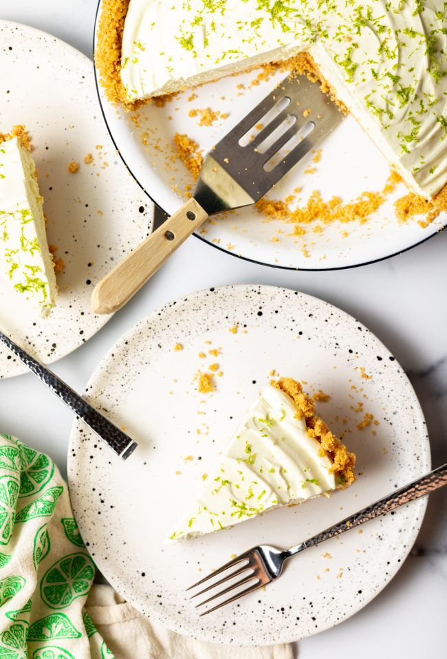 overhead view slices of icebox pie with limes